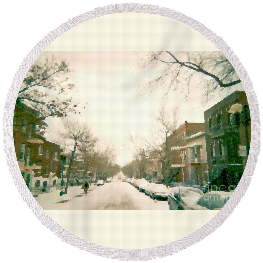 Montreal Round Beach Towel featuring the painting Hiver Psc Winter In The Point Snowy Day Paintings Montreal Art Cityscenes Brick Houses Snowed In by Carole Spandau