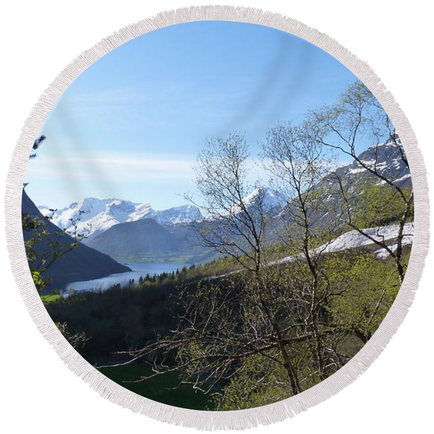 Round Beach Towel featuring the photograph Hjorundfjord From Slogan by Katerina Naumenko