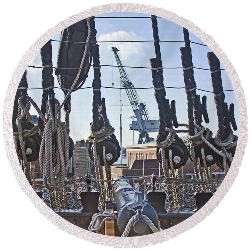 Portsmouth Round Beach Towel featuring the photograph Hms Victory Cannon by Terri Waters