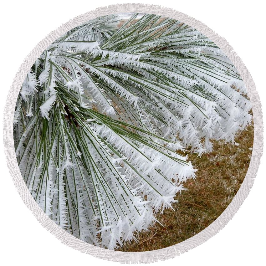 Hoarfrost 4 Round Beach Towel featuring the photograph Hoarfrost 4 by Will Borden