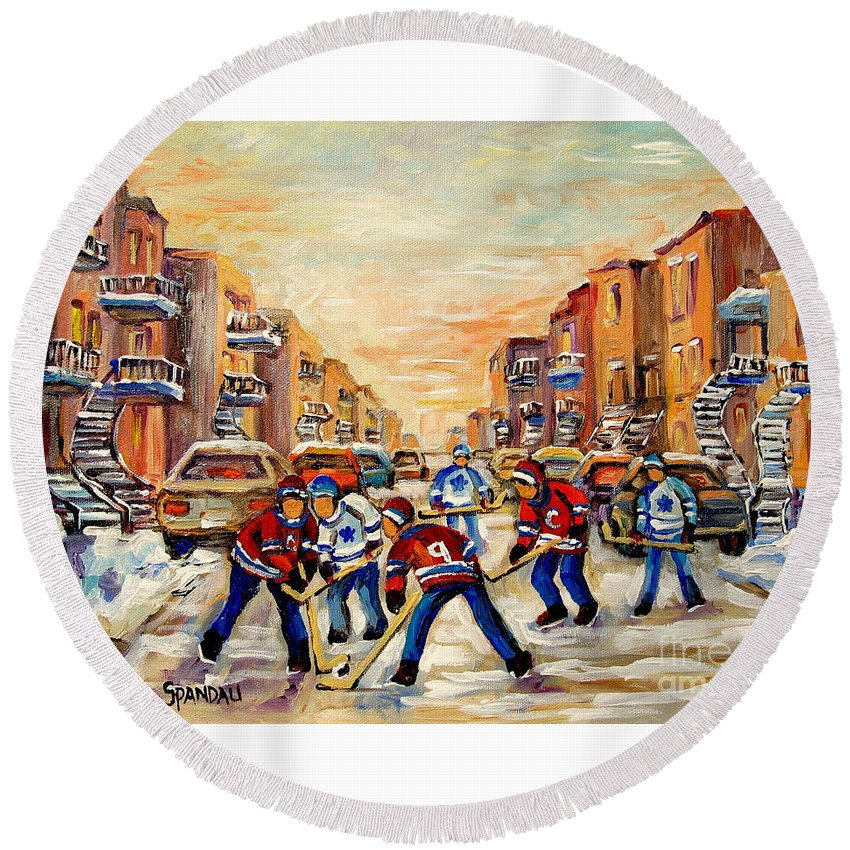 Hockey Daze Round Beach Towel featuring the painting Hockey Daze by Carole Spandau