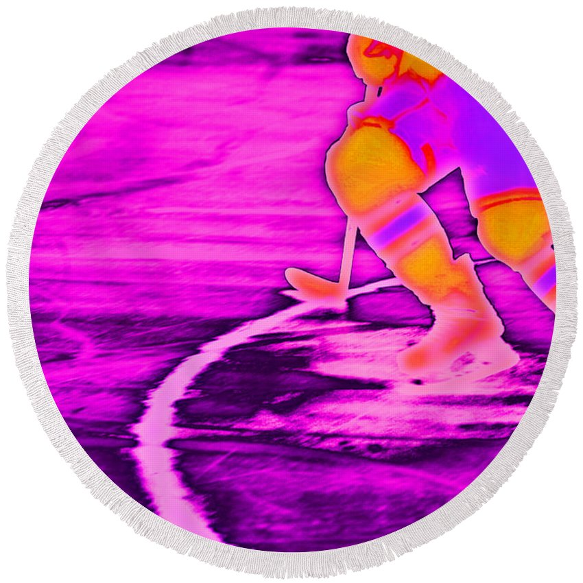 Purple Round Beach Towel featuring the photograph Hockey Freeze by Karol Livote