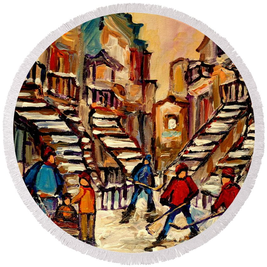 Montreal Round Beach Towel featuring the painting Hockey Game Near Winding Staircases Montreal Streetscene by Carole Spandau