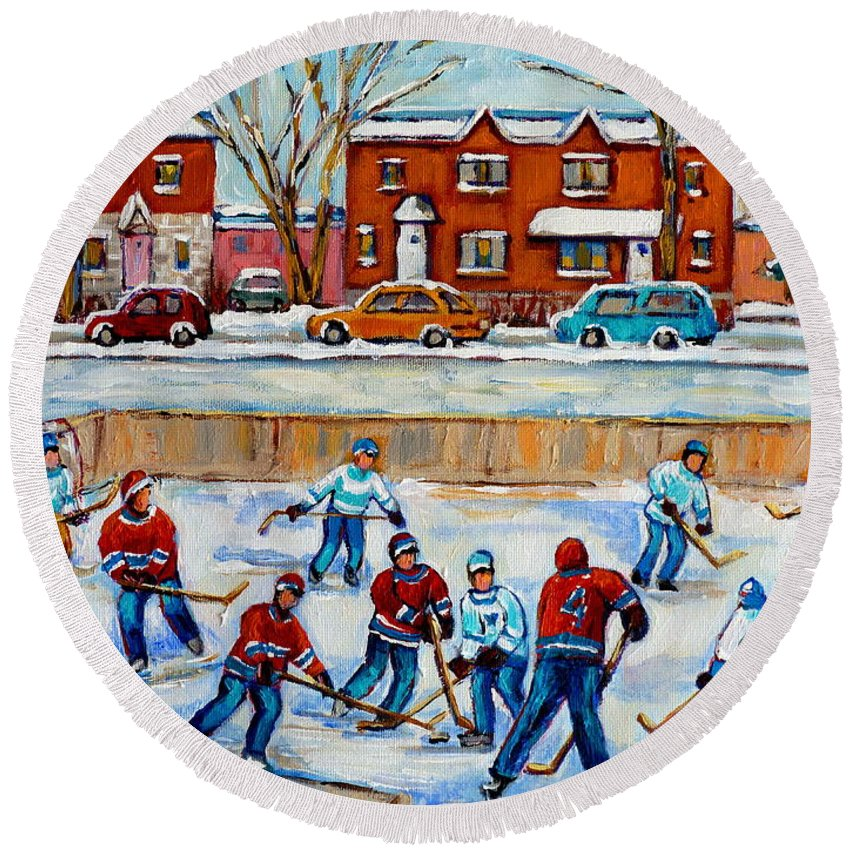 Hockey At Van Horne Montreal Round Beach Towel featuring the painting Hockey Rink At Van Horne Montreal by Carole Spandau