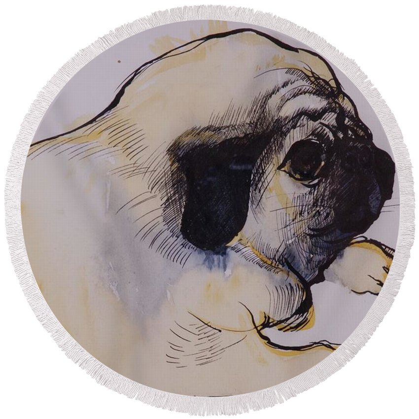 Pug Round Beach Towel featuring the painting Hogarth by Brenda Brin Booker