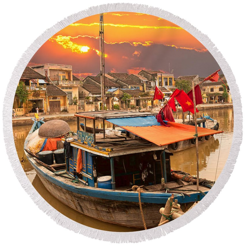 American Round Beach Towel featuring the photograph Hoi An - Vietnam by Luciano Mortula