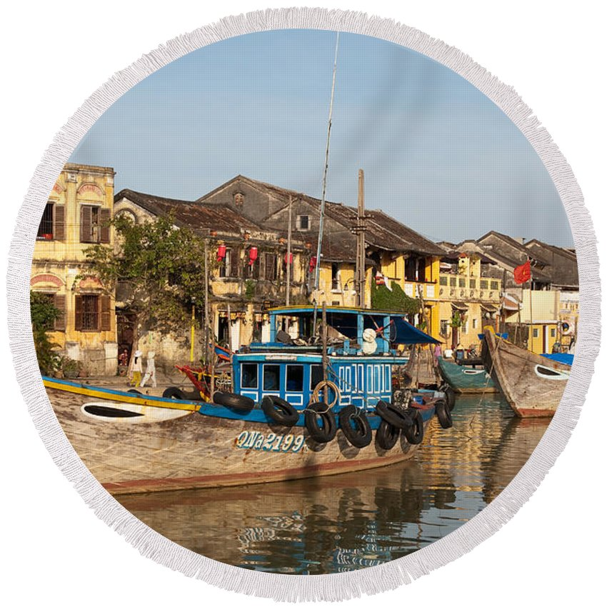 Vietnam Round Beach Towel featuring the photograph Hoi An Fishing Boats 03 by Rick Piper Photography
