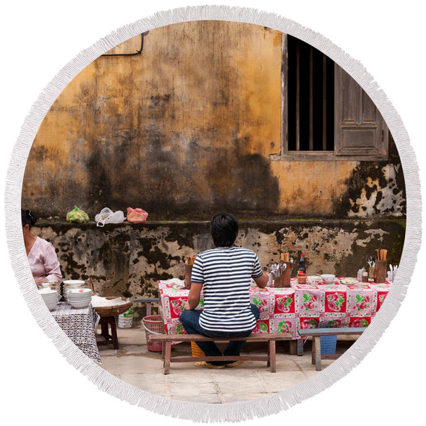 Vietnam Round Beach Towel featuring the photograph Hoi An Noodle Stall 03 by Rick Piper Photography