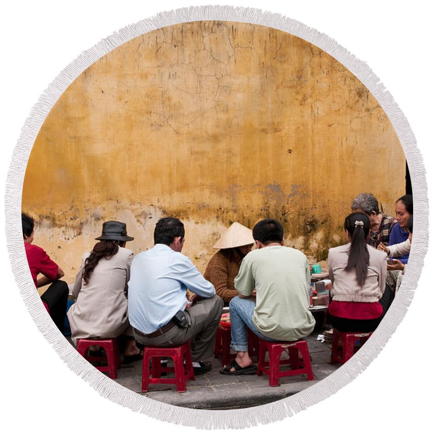 Vietnam Round Beach Towel featuring the photograph Hoi An Noodle Stall 05 by Rick Piper Photography