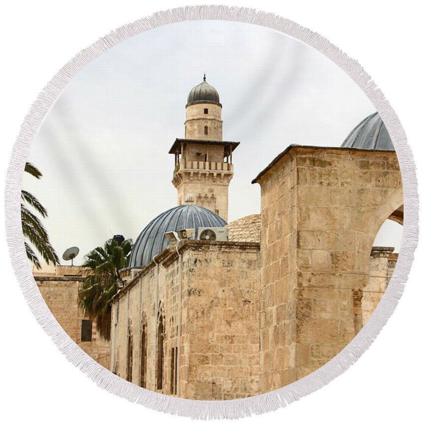 Jerusalem Round Beach Towel featuring the photograph Holding Out by Munir Alawi
