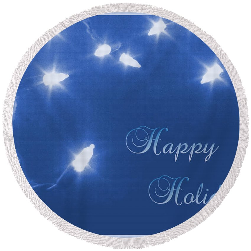 Blue Round Beach Towel featuring the photograph Holiday Card I by Kristie Bonnewell