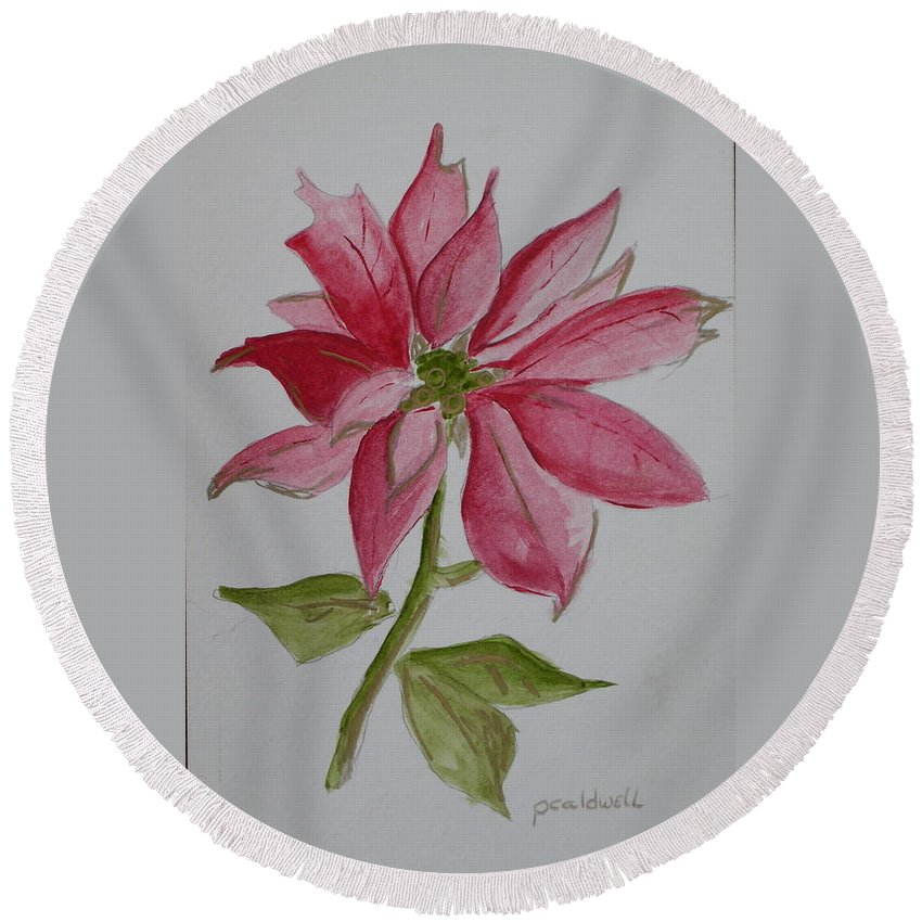 Flower Christmas Round Beach Towel featuring the painting Holiday Flower by Patricia Caldwell