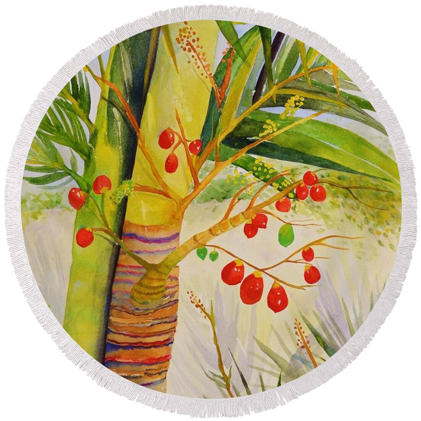 Palm Tree Round Beach Towel featuring the painting Holiday Palm by Jane Ricker