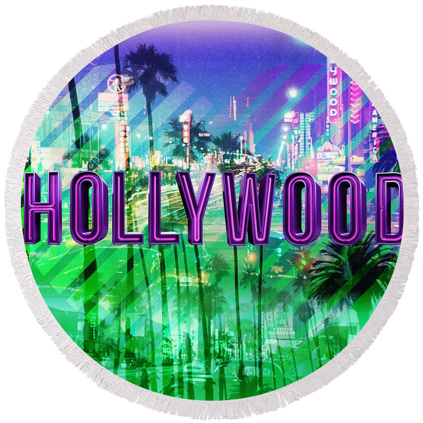 Hollywood Round Beach Towel featuring the digital art Hollywood Day And Night by Gina Dsgn