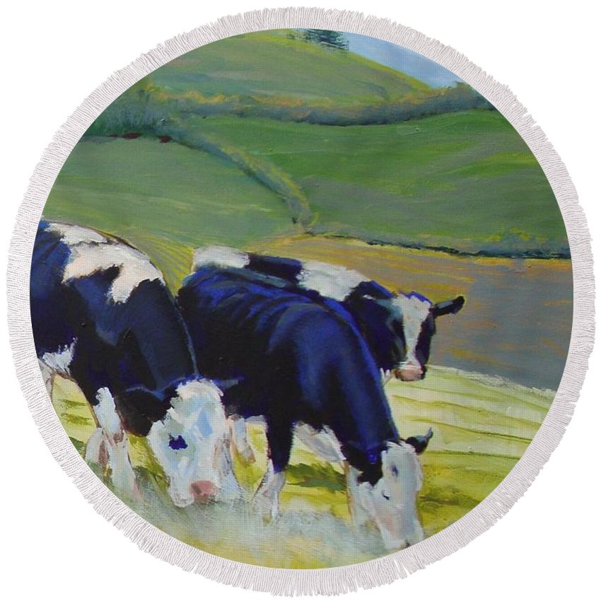 Cow Round Beach Towel featuring the painting Holstein Friesian Cows by Mike Jory