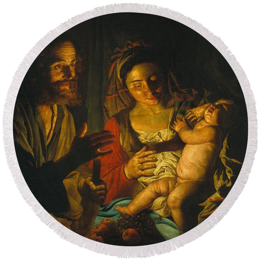 Matthias Stom Round Beach Towel featuring the painting Holy Family by Matthias Stom