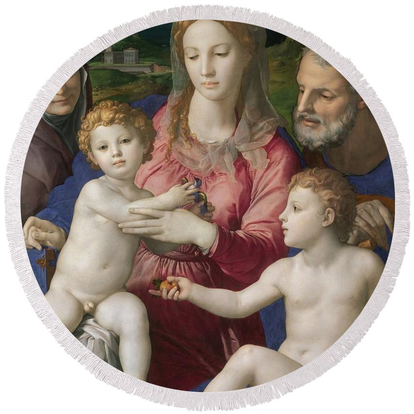 1545-1546 Round Beach Towel featuring the painting Holy Family With St. Anne And The Infant St. John by Agnolo Bronzino