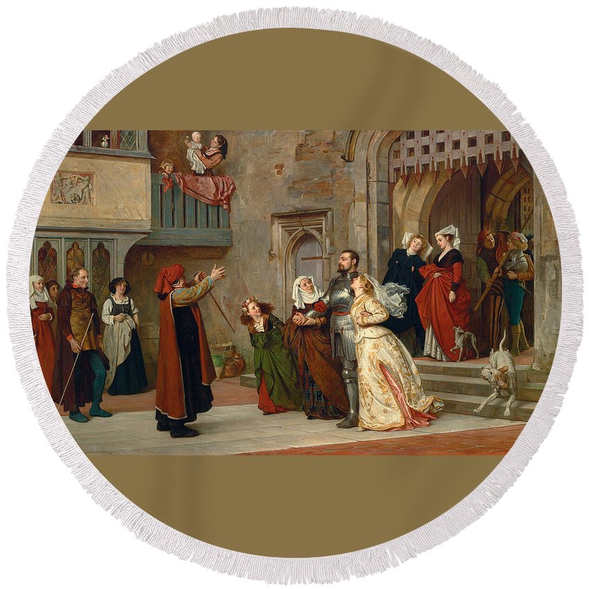 Philip Hermogenes Calderon Round Beach Towel featuring the painting Home After Victory by Philip Hermogenes Calderon