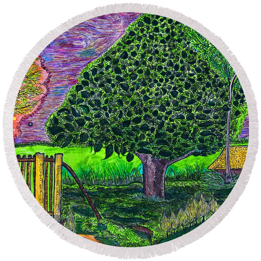 Landscape Round Beach Towel featuring the painting Home by Alex Art and Photo