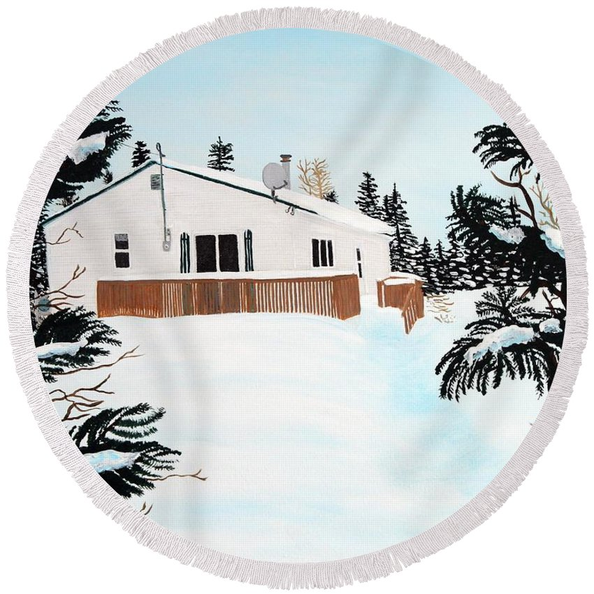 Home Round Beach Towel featuring the painting Home Away From Home by Barbara Griffin