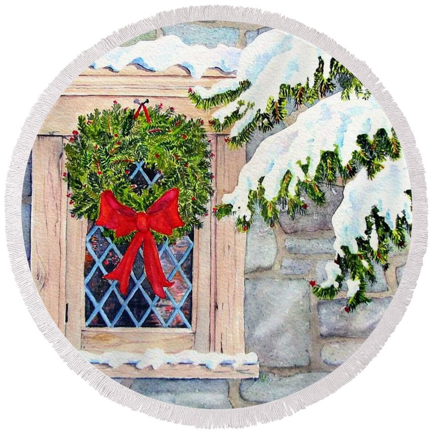 Card Round Beach Towel featuring the painting Home For The Holidays by Mary Ellen Mueller Legault