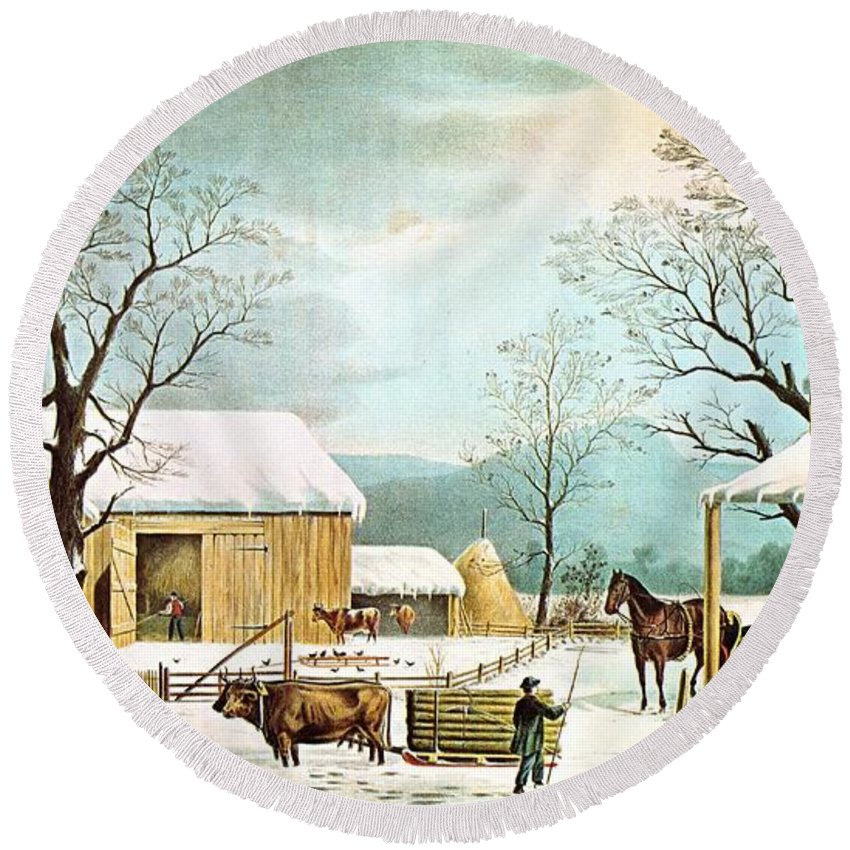 Currier And Ives Round Beach Towel featuring the digital art Home To Thanksgiving by Currier and Ives