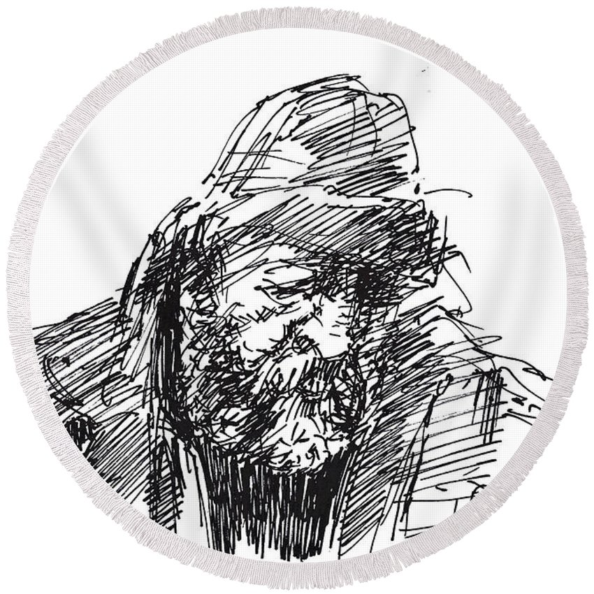 Sketch Round Beach Towel featuring the drawing Homeless by Ylli Haruni