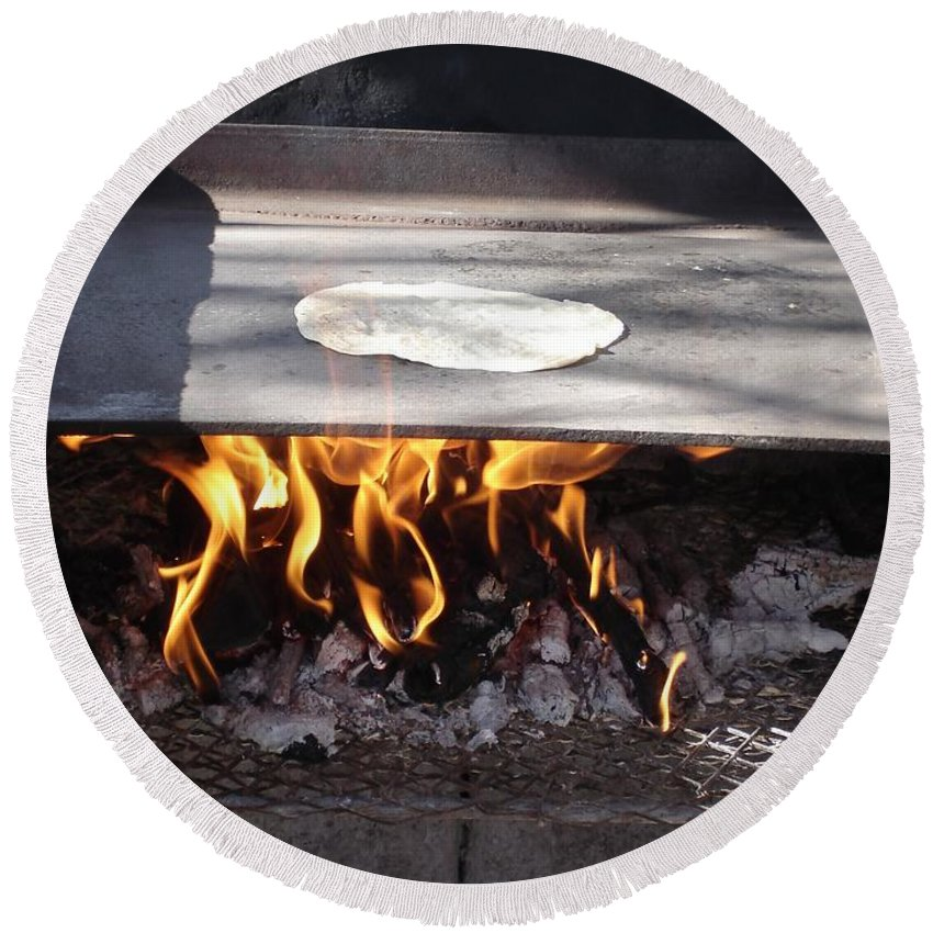 Tortillas Round Beach Towel featuring the photograph Homemade Tortillas by Kerri Mortenson