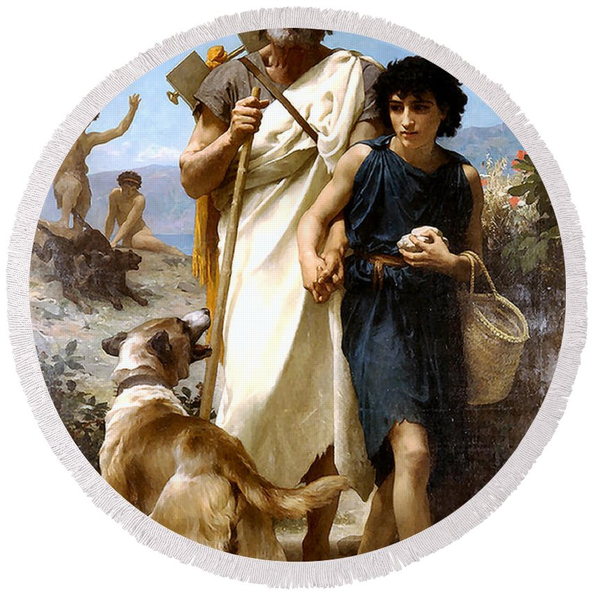 Adolphe William Bouguereau Round Beach Towel featuring the painting Homer And His Guide by Adolphe William Bouguereau