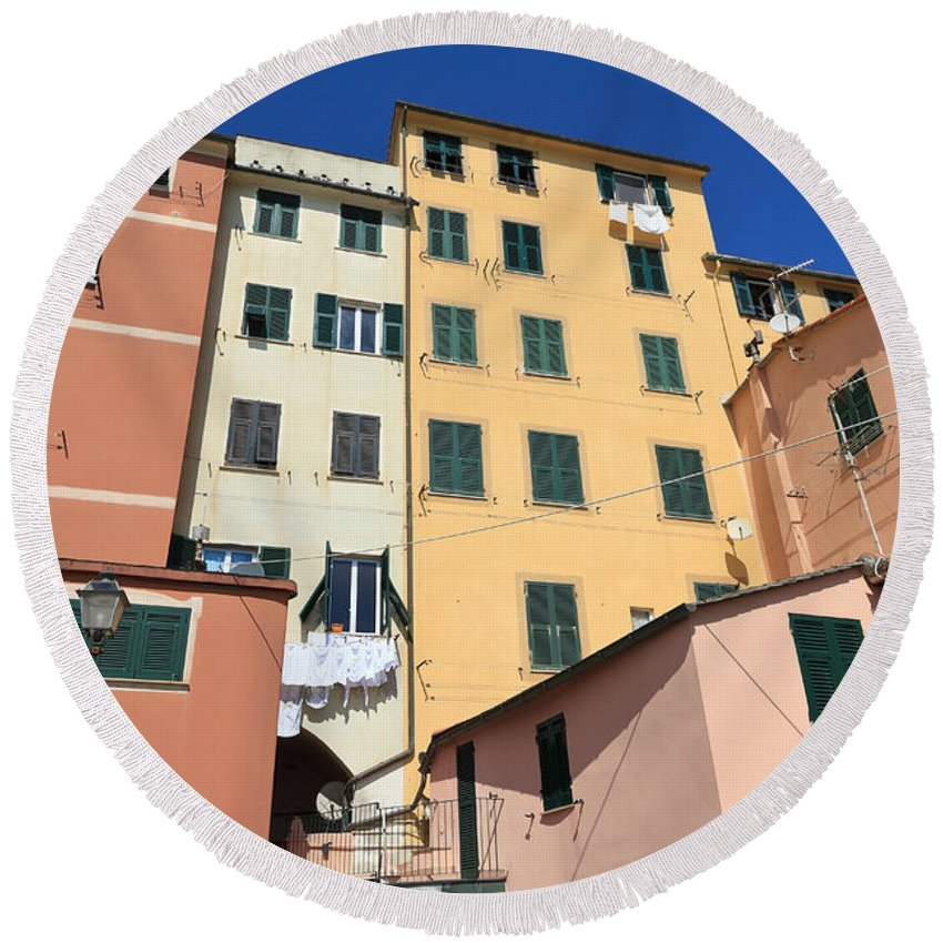 Ancient Round Beach Towel featuring the photograph homes in Sori - Italy by Antonio Scarpi