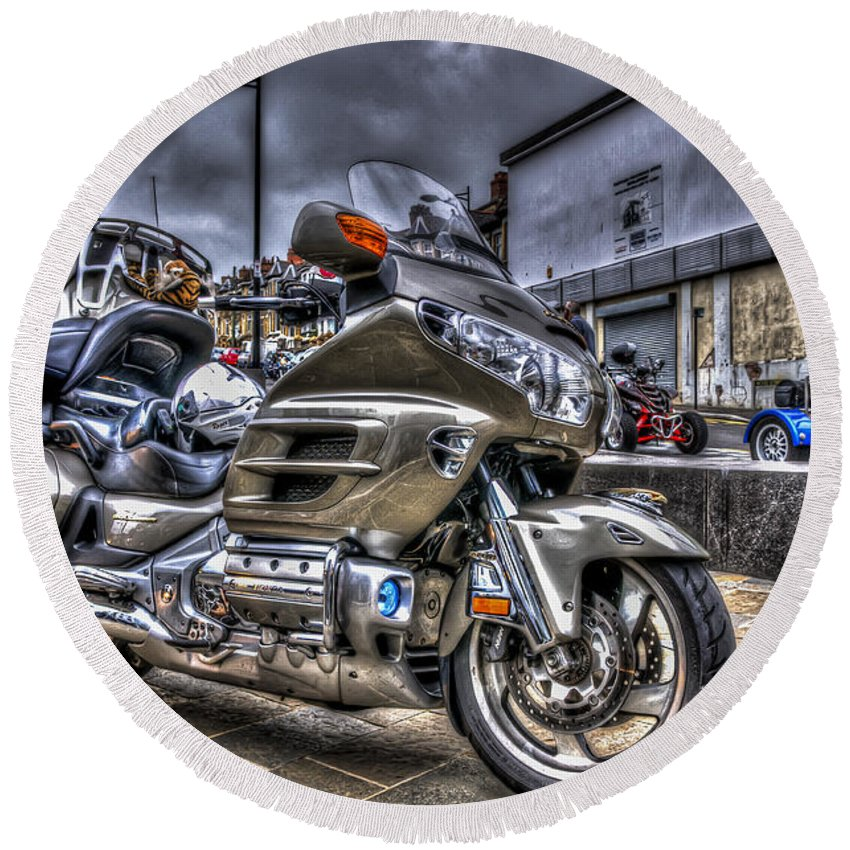 Honda Goldwing Round Beach Towel featuring the photograph Honda Goldwing 2 by Steve Purnell