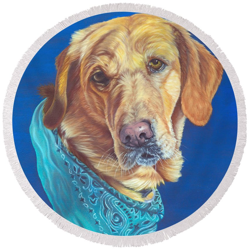 Animal Round Beach Towel featuring the painting Honey by Lana Tyler