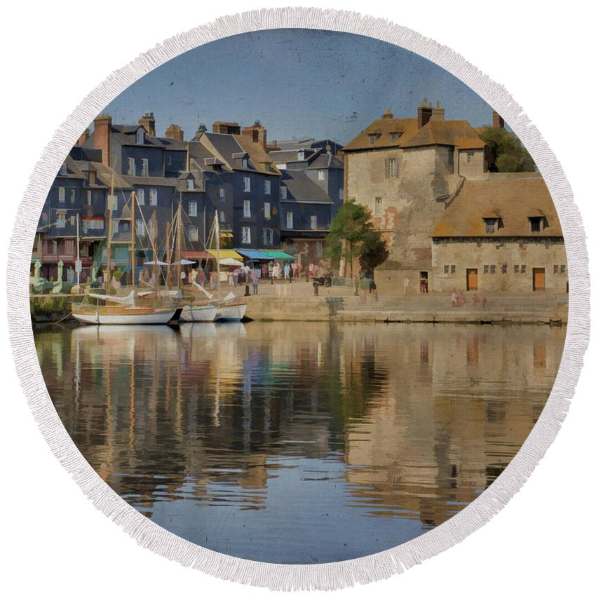 Honfleur Round Beach Towel featuring the photograph Honfleur In Normandy France by Jean-Pierre Ducondi