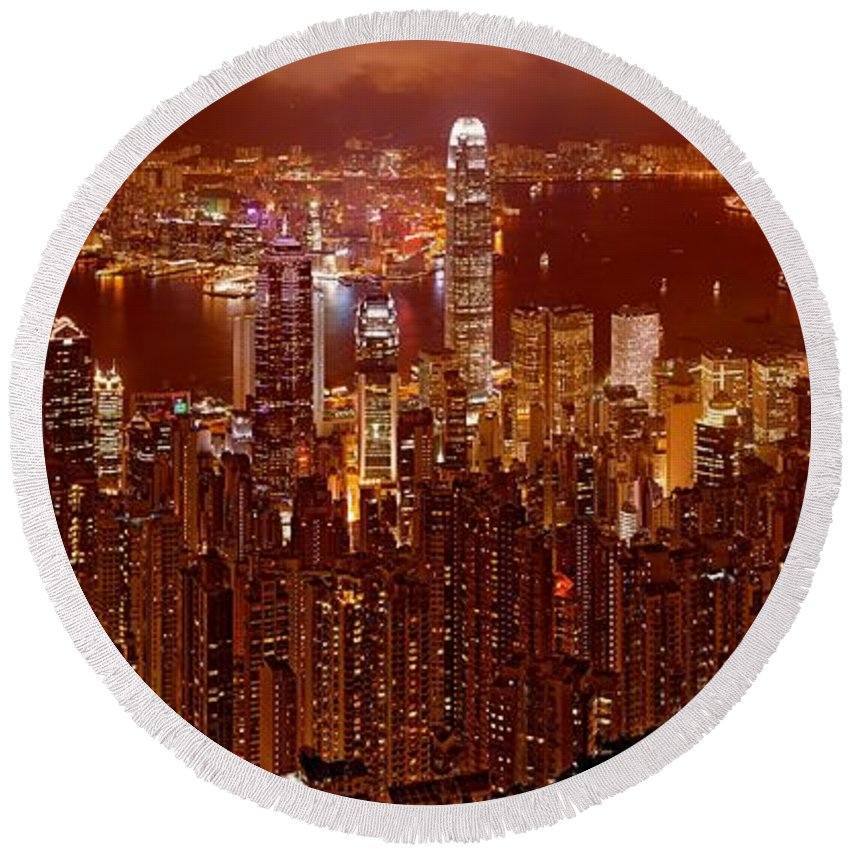 Hong Kong Prints Round Beach Towel featuring the photograph Hong Kong In Golden Brown by Monique's Fine Art