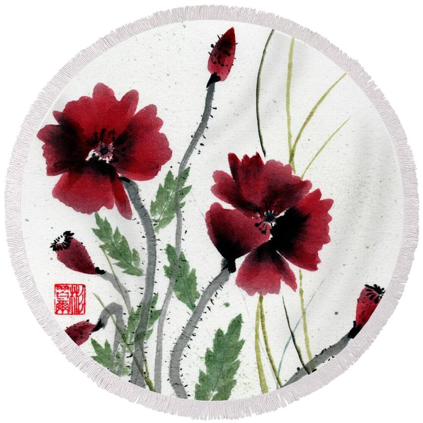 Chinese Brush Painting Round Beach Towel featuring the painting Honor by Bill Searle