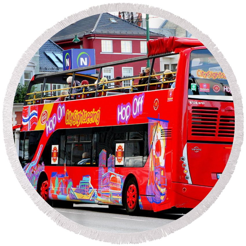 Hop Round Beach Towel featuring the photograph Hop On And Hop Off Bus In Bergen by Laurel Talabere