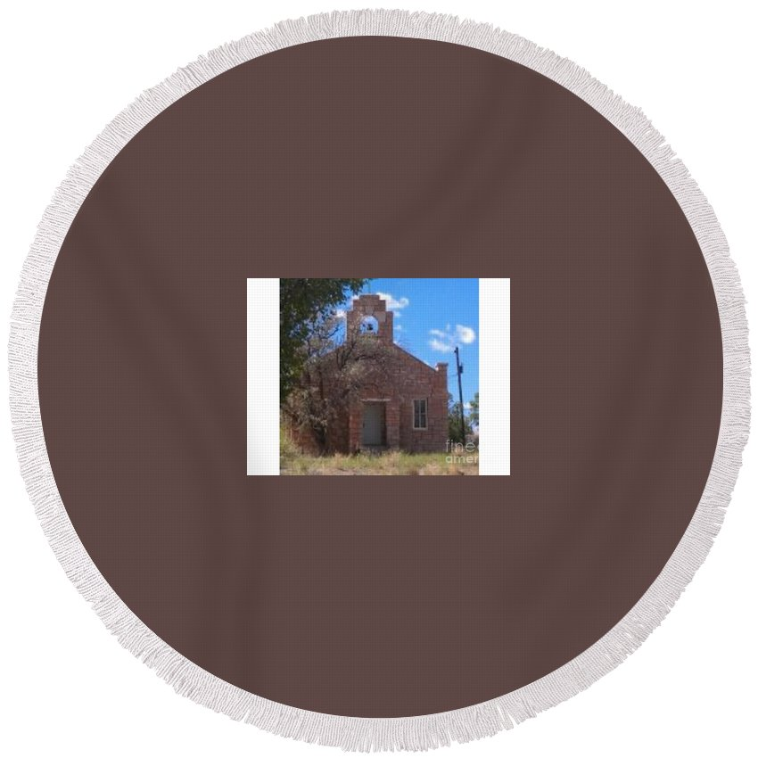 Hopi Round Beach Towel featuring the photograph Hopi Church by Frederick Holiday