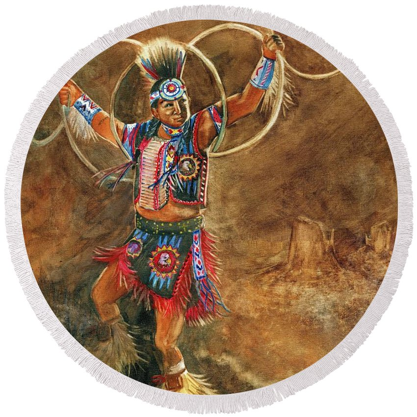 Hopi Hoop Dancer Round Beach Towel featuring the painting Hopi Hoop Dancer by Marilyn Smith