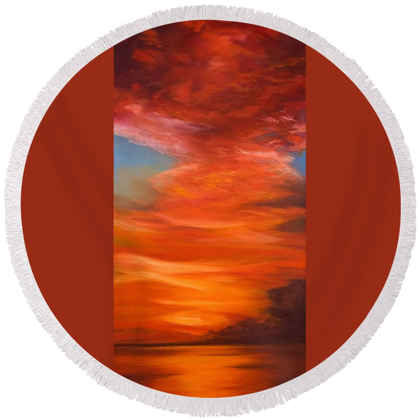 Sunset Round Beach Towel featuring the painting Horizon by Jennifer Hickman