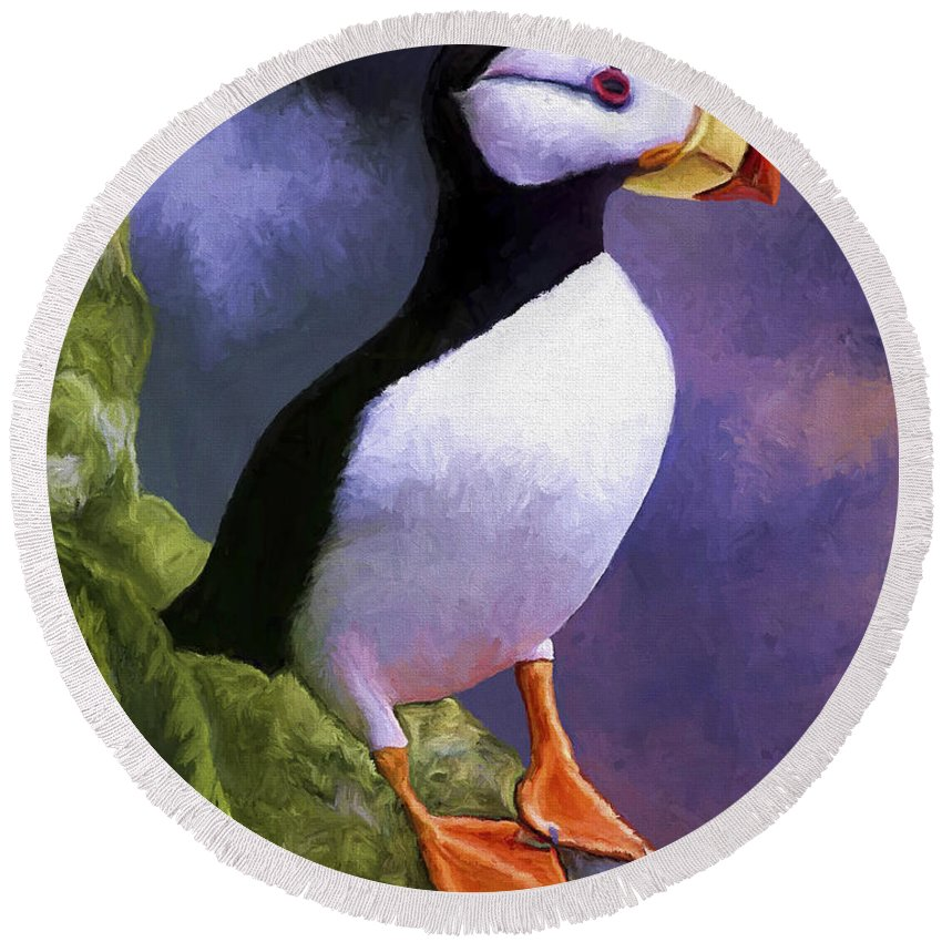 Animal Round Beach Towel featuring the painting Horned Puffin by David Wagner