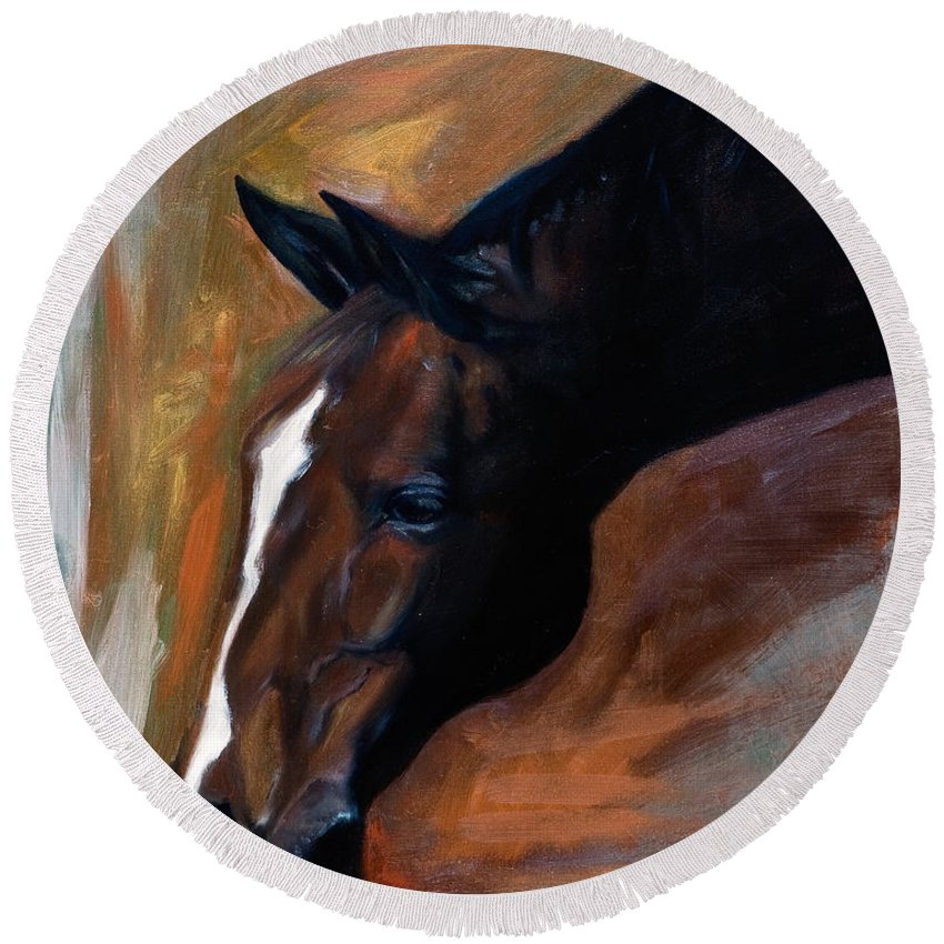 Horse Round Beach Towel featuring the painting horse - Apple copper by Go Van Kampen