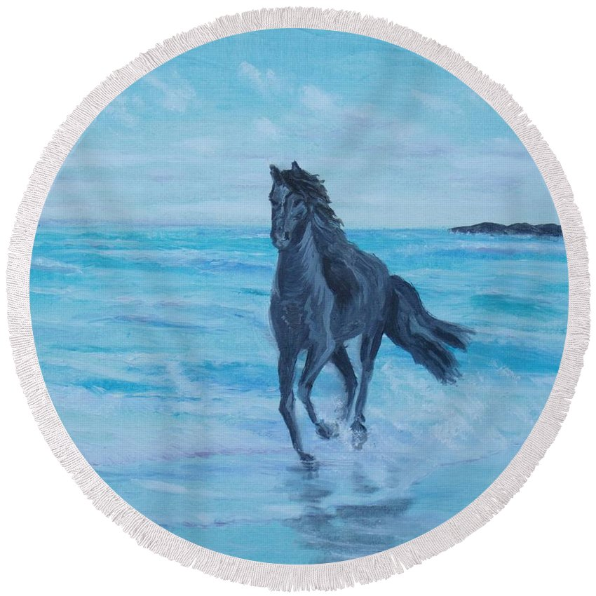 Horse Round Beach Towel featuring the painting Horse At The Sea by Elena Sokolova
