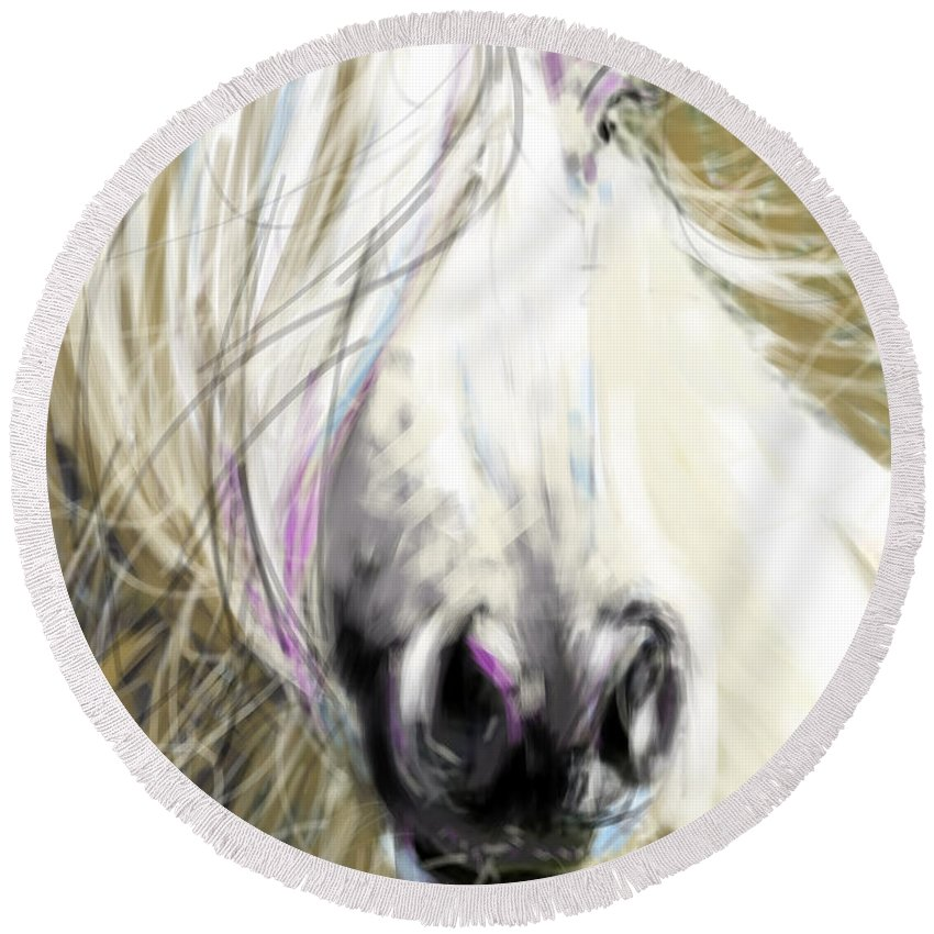 Horse Art Round Beach Towel featuring the painting Horse Blowing In The Wind by Go Van Kampen