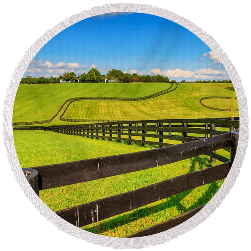 Farm Round Beach Towel featuring the photograph Horse Farm Fences by Alexey Stiop
