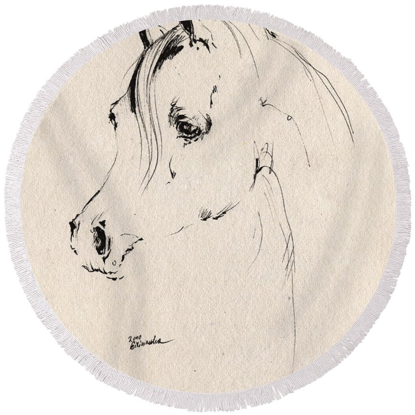 Horse Round Beach Towel featuring the drawing Horse Head Sketch by Angel Ciesniarska
