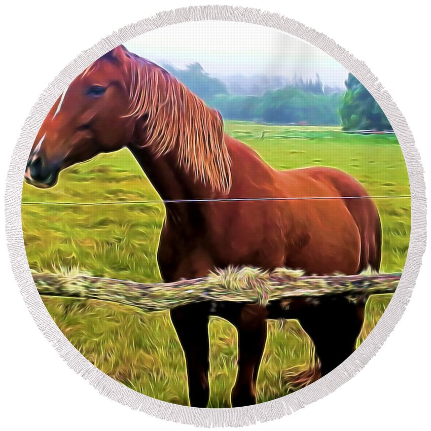 Horse Round Beach Towel featuring the mixed media Horse In The Pasture by Pamela Walton