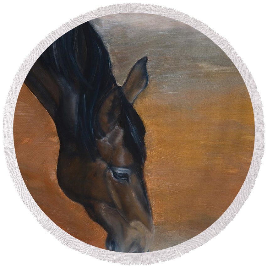 Horse Round Beach Towel featuring the painting horse - Lily by Go Van Kampen