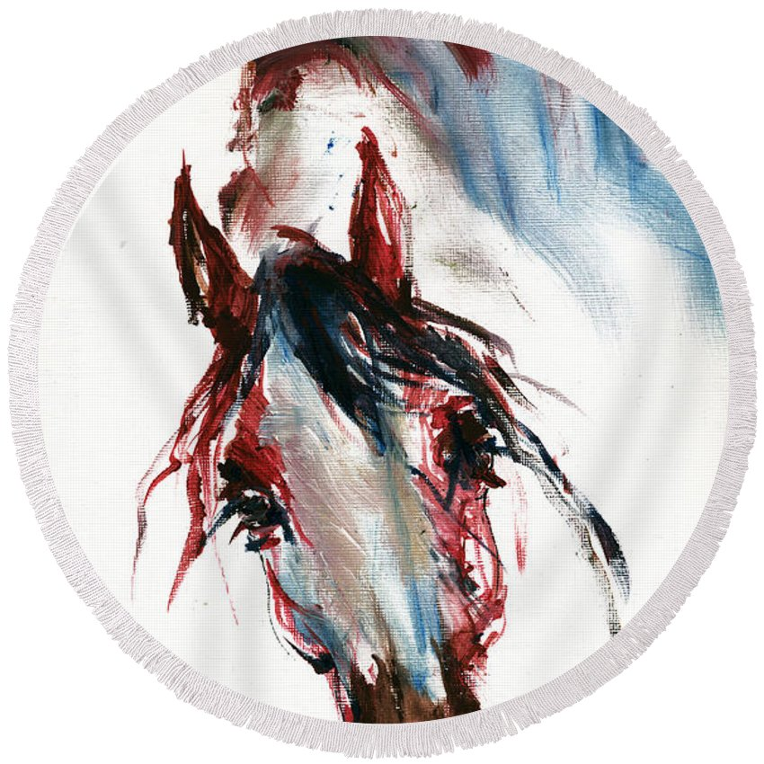 Horse Round Beach Towel featuring the painting Horse Portrait by Angel Ciesniarska