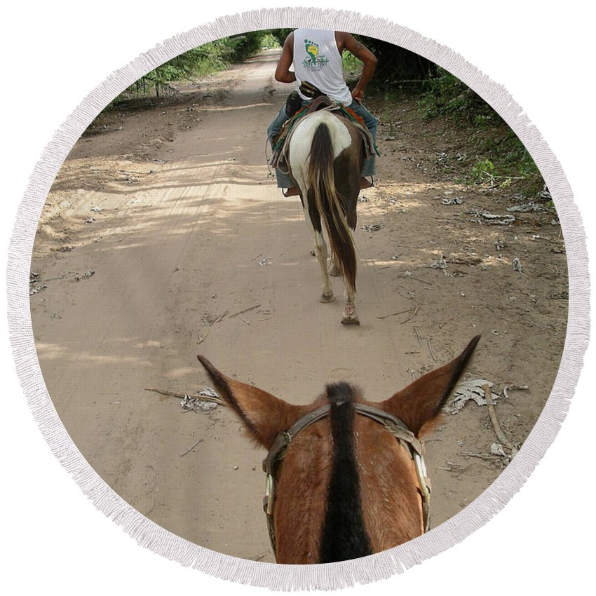 Horse Riding In The Pantenal Round Beach Towel featuring the digital art Horse Riding by Carol Ailles
