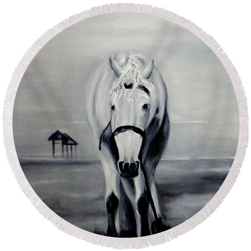 Horse In The Monochrome Technique Round Beach Towel featuring the painting Horse by Tatjana Andre